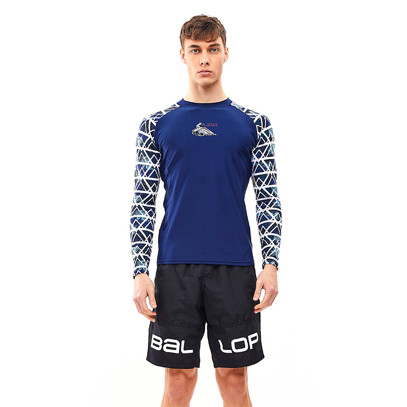 Men's Rash Guard Water Chameleon hide Navy